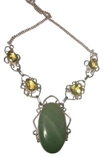 Agate & Citrine Gemstone Necklace Set 925 Silver 20 Inches J548