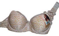 New Heart Feminine lingerie bra undergarment beige with small flowers lace trim with sequins and padded size 34/A