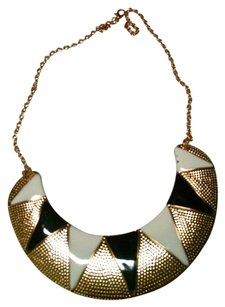 New Bib Necklace Black Gold White Jewelry J651
