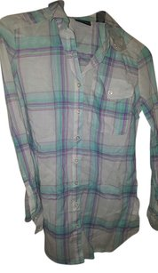 New York & Company Button Down Shirt Baby blue turquoise green purple