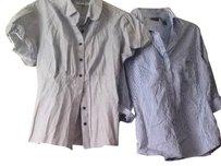 New York & Company Button Down Shirt Blue and Black