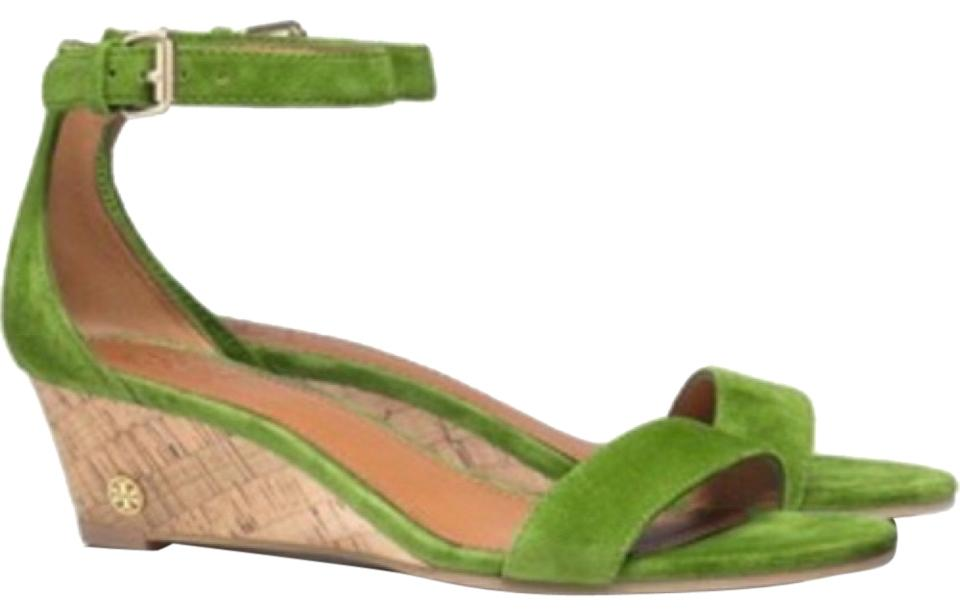 NIB Tory Burch Savannah Suede Wedge Sandals