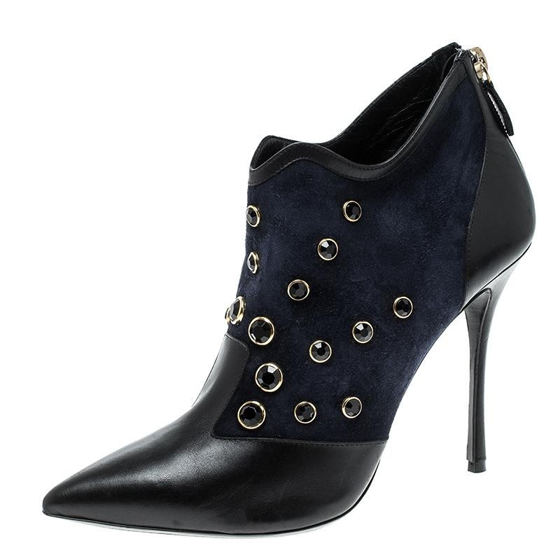d04aeeb52c8a Nicholas Kirkwood Blue Navy Crystal Embellished Suede and Leather Leather  Leather Poin Boots Booties Size EU 39 (Approx. US 9) Regular (M