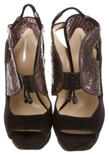 Nicholas Kirkwood Platform Snakeskin Cut-out Black Platforms