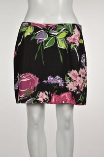 Nicole Miller Womens Black Skirt Black, Pink, Green, Purple, White