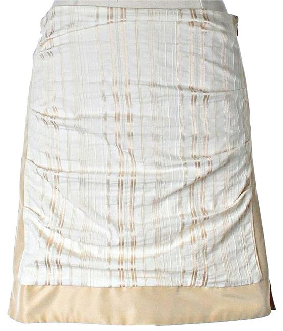 Nicole Miller Shimmer Striped Mini Skirt White & Gold