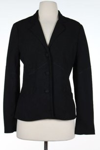 Nicole Miller Nicole Miller Womens Black Solid Blazer Long Sleeve Three Buttons