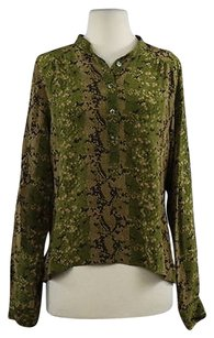 Nieves Lavi Womens Green Printed Med Silk Shirt Top Olive