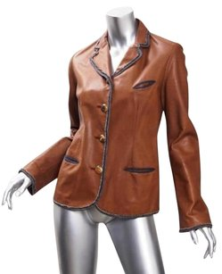 Nigel Preston Womens Leather Blazer Coat Brown Jacket
