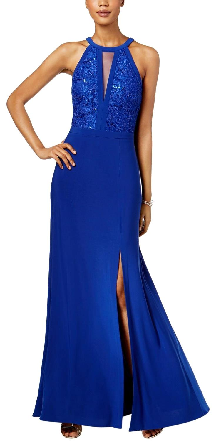 Night Way Collections Royal Blue Lace Halter Gown Long Formal Dress