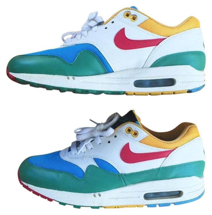 Nike Air Max 1 Women Green Blue White Yellow Red Athletic. Nike Green Blue  White Yellow Red Women's Air Max 1 Multi Color Sneakers Size US 9 Regular (M,  B)