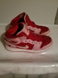 Nike Lace Inset Two-tone Vintage Air Jordan's Leather And Lace Red/Pink/White Athletic
