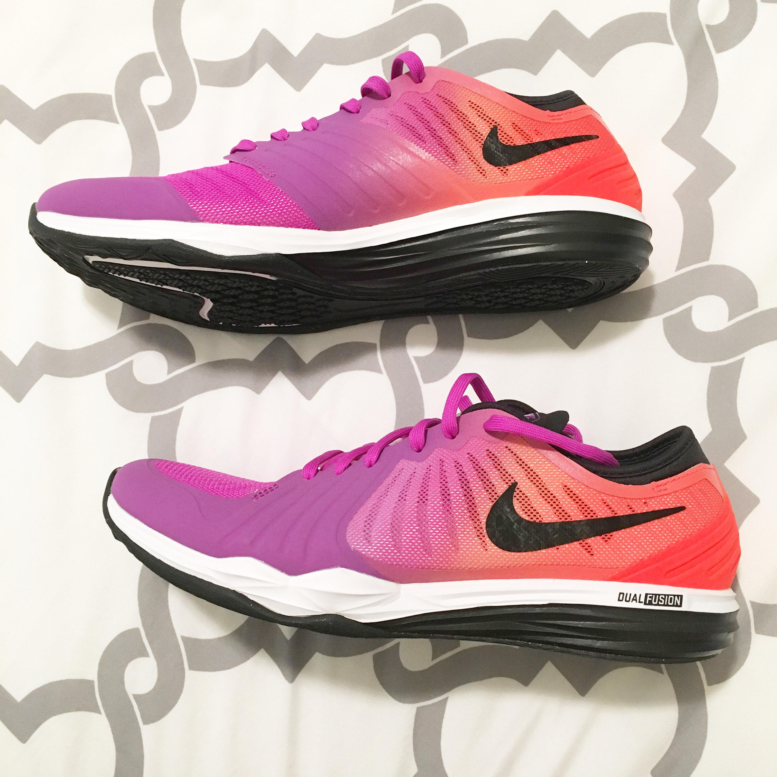 7a3fe9ce363 Nike Dual Fusion TR 3 Print Trainers Womens Sports footwear Womens Trainers  COLOUR-pink white orange