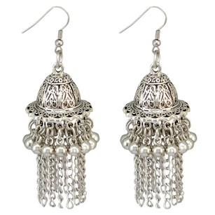 NilouPdx Silver Bell/Lantern Tassel Earrings