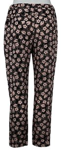 Nina Ricci Womens Casual Floral Silk Ankle Trousers Pants