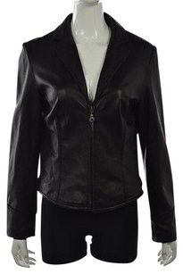 Nine West Womens Leather Long Sleeve Casual Coat Black Jacket
