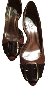 Nine & Co. Leather Heels Womens Brown Black & Tan Pumps