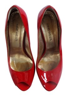 Nine West Patent Sexy High Heel Open Toe Red Sandals
