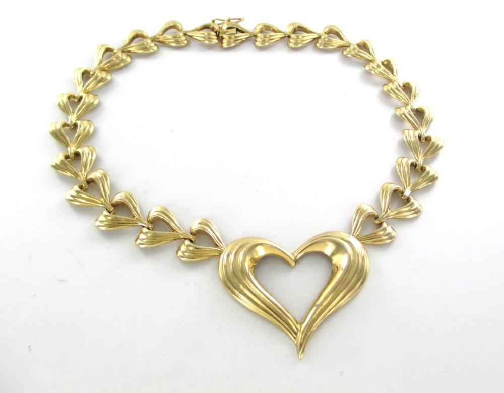 Gold 14k Solid Yellow Heart Valentines Love Design 56.1 Grams Necklace    Tradesy