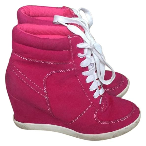 sneaker pink white wedges tradesy
