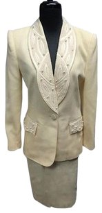 Nolan Miller Nolan Miller Ivory Wool Lined Beaded Two Piece Skirt Suit Sma9594