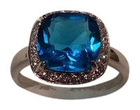 100% Solid 925 Sterling Silver Sapphire With Geunine Austrian Crystals Ring Size 7 8