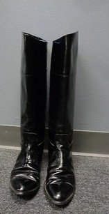Nordstrom Shiny Leather Round Toe Heeled B3360 Black Boots