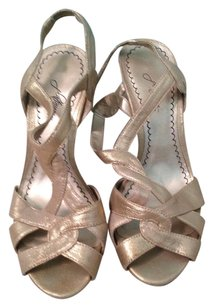 Nordstrom Sandal Pump Slingback GOLD METALLIC STRAPPY Formal
