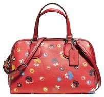 NWT Coach Floral Print Pebble Leather Satchel Handbag Red Multi #37176 Satchel