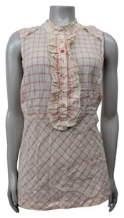Odille Anthropologie Plaid Ruffle Front Top beige pink