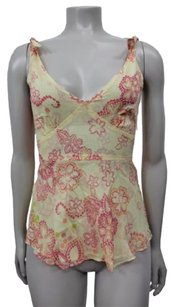 Odille Beige Red Floral Print Empire Waist Top red pink