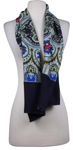 Oilily Oilily Womens Navy Gray Floral Scarf One Cotton Pink Blue Olive