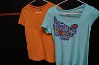 Old Navy Orangeturquoise 100 T Shirt Multi-Color