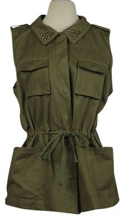 Olive + Oak Amp Womens Green Jacket Sleeveless Cotton Casual Vest