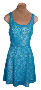 OlsenBoye short dress AQUA BLUE LACE Clean Pretty Feminine on Tradesy