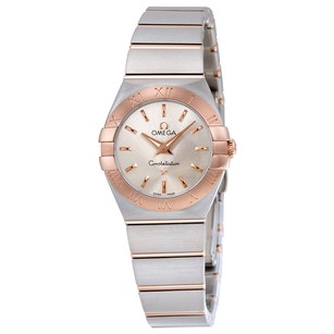Omega Constellation Silver Dial Stainless Steel Rose Gold Ladies Watch