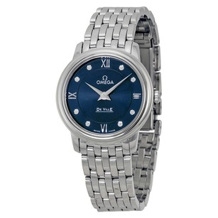 Omega DeVille Prestige Blue Diamond Dial Stainless Steel Ladies Watch