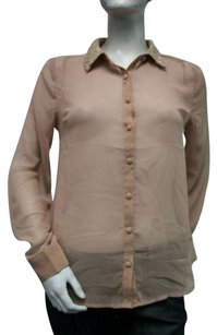 Only Mine Sheer Sequins Collared Top Brown