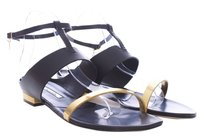 Oscar de la Renta Leather Strappy Italian Black Sandals