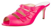 Oscar de la Renta Button Strappy Leather Hot Pink Mules