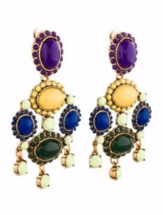 Oscar de la Renta Oscar De La Renta Womens Multi-color Oval Jeweled Gold Tone Clip-on Earrings