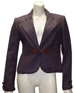 Oscar de la Renta Oscara De La Renta Purple Brown Trimmed Button Front Jacker Blazer Hs1994