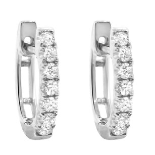 Other 0.30ct Diamond 14k White Gold Round Huggie Earrings