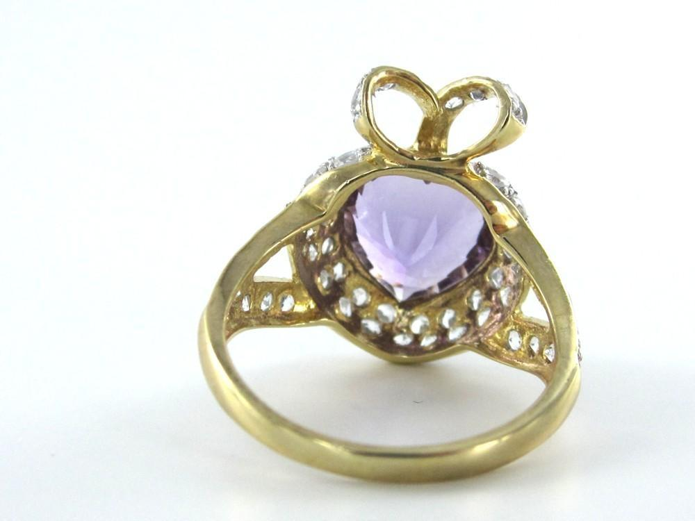 Gold 10 Karat Yellow Diamond Purple Stone Heart Valentines Ring