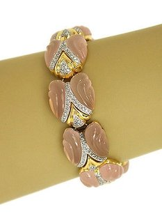 1.00ct Diamonds Frosted Pink Carved Bracelet In 18k Ygold
