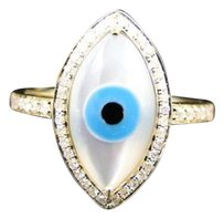 10k Ladies Womens Yellow Gold Round Cut Evil Eye Good Luck Designer Fashion Ring