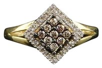 10k Ladies Yellow Gold 0.25 Ct Champagne Brown Diamond Engagement Wedding Ring