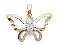 10k Rose Gold Ladies Genuine Diamond Butterfly Mini Pendant Charm 0.05ct 0.7