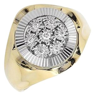 Other 10k Two Tone Gold Round Starburst Frame Miracle Set Genuine Diamond Ring 0.18ct