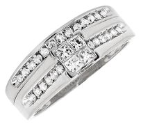 10k White Gold Channel Set Princess Diamond Engagement Wedding Ring Set .50ct